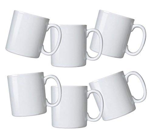 Amuse- Durable Gourmet White Mugs- set of 6 (Pure White- 12 oz)