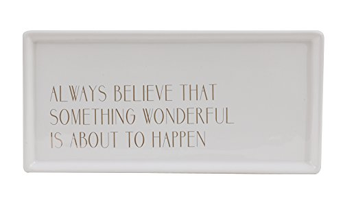 Bloomingville White and Gold Always Believe Ceramic Tray, Multicolor Ceramic Divided Tray