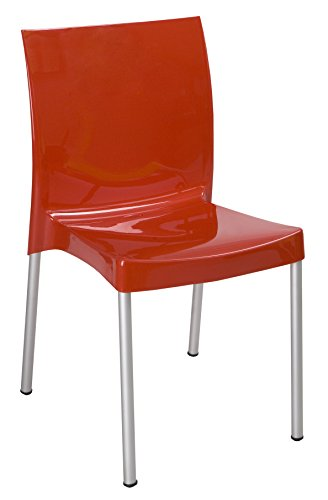 Tensai Nicole Collection Glossy Finish Durable Plastic Chair - Red