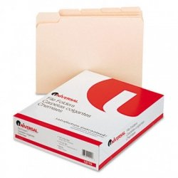 Universal File Folders, 1/5 Cut Assorted, One-Ply Top Tab, Letter, Manila, 100/Box (12115), 2 Pack