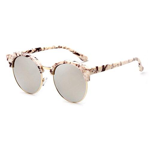 polarizadas Gafas de Gafas Black Beige de Color Moolo Marco del Retros Redondas Unisex Sol reflexivas Medio 4FYn5wq