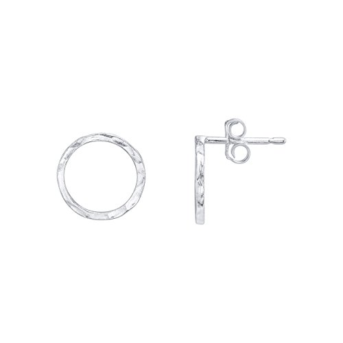 Sterling Silver Hammered Circle Earrings - Circle Stud Earrings - 925 Sterling Silver