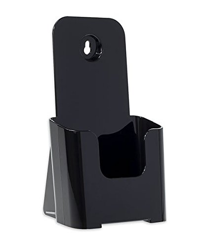 Source One Tri Fold Brochure Holder 4X9 (1 Pack, Black) (Black Tri Fold Card)