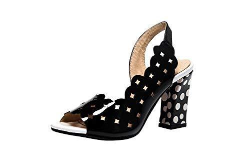 Latasa Women's Chic Hollow-Out Peep-Toe Polka dot Chunky High Heel Slingback Dress Sandals (9, Black (Main Color))