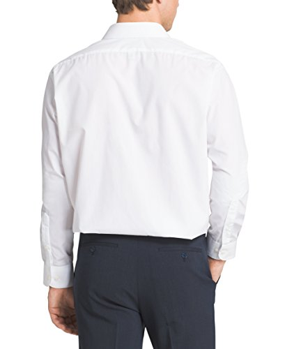 Van Heusen Men's Poplin Regular Fit Solid Point Collar Dress Shirt, White, 16.5