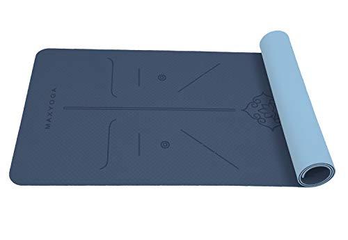 MAXYOGA® Esterilla Yoga con Sistema de Alineación del Cuerpo. Colchoneta Yoga Antideslizante y Ligera de Material Ecológico TPE, con Grosor de 6mm, ...