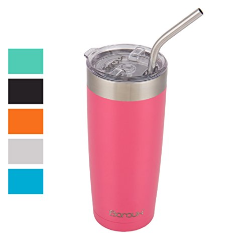 Boroux Climate Series 20oz Insulated Stainless Steel Tumbler Cups with Extra Wide Stainless steel Straw - Petal Pink