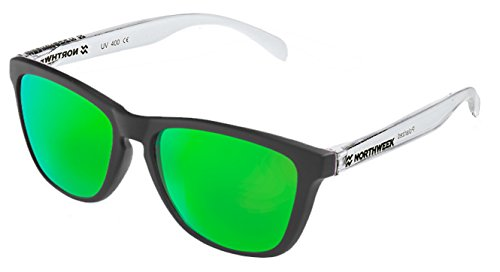 de Black soleil lentille unisexes polarisée matte Lunettes Northweek verte brillant Blanc IwdxqF