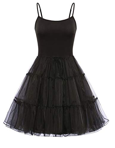 GRACE KARIN Women's 50s Vintage Petticoat Crinoline Rockabilly Tutu Skirt Spaghetti Strap Slip Under Dress (Black,XL)