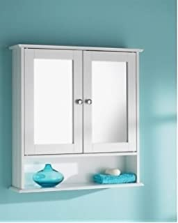 HK Double Door Mirrorr With Shelf Wooden Bathroom Cabinet 56CM X13CM X 58CM