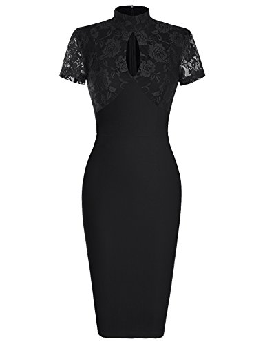 MUXXN Women's 1940's Vintage Floral Lace Keyhole Bodycon Hot Pencil Dress(M,Black)