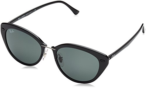 Ray-Ban INJECTED WOMAN SUNGLASS - BLACK Frame GREEN Lenses 52mm - Bans Ray Sunglasses Cat Eye