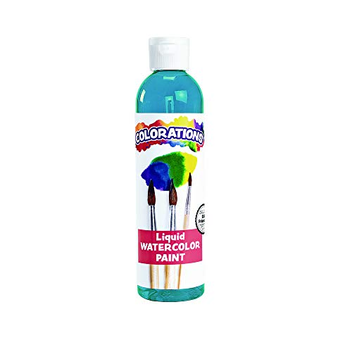 Colorations Liquid Watercolor Paint, 8 fl oz, Turquoise, Non-Toxic, Painting, Kids, Craft, Hobby, Fun, Water Color, Posters, Cool Effects, Versatile, Gift