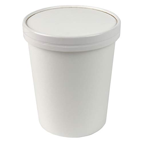 32 oz Quart Freezer Containers And Lids - Compostable Eco Friendly Paper Cups - With Non-vented Lids To Prevent Freezer Burn Perfect For Ice Cream! Fast Shipping - Frozen Dessert -
