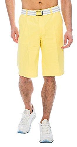 TR Fashion Men's Bahamas Belted Walking Shorts (Neon Yellow, (Yellow Bermuda)