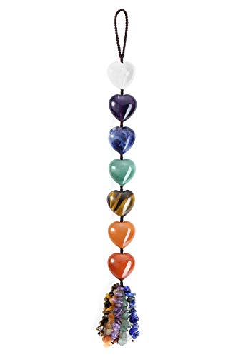 Top Plaza 7 Chakra Stones Healing Crystals Hanging Ornament Heart Gemstones Home Wall Decor for Good Luck Reiki Yoga…