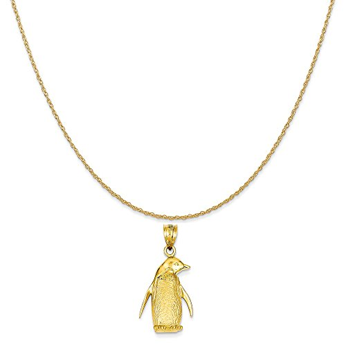 (Mireval 14k Yellow Gold Penguin Charm on a 14K Yellow Gold Rope Chain Necklace, 16