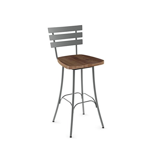 Amisco Stadium Swivel Metal Barstool in Glossy Grey Metal and Medium Brown Distressed Wood - Amisco Swivel Bar Stools