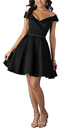 Jonlyc A-Line Off-Shoulder Beaded Short Homecoming Dresses Graduation Party Dress Black 18W