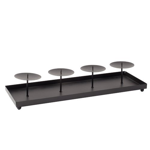 Richland Metal Black Rectangle Tray with Four Elevated Pilla