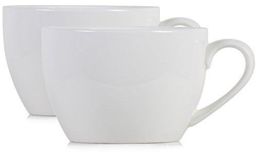 Hikari 24oz Extra Large Coffee Mugs with Handles, Perfect for Coffee, Hot Beverages, Soup, Cereal, Salad, etc., Set of (White Large Mug)