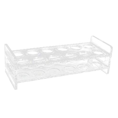 Flameer 12-Hole Clear Acrylic Shot Glass Holder Rack Barware Whisky Cup Serving Tray, Round-edge, with handles, stable and easy to remove