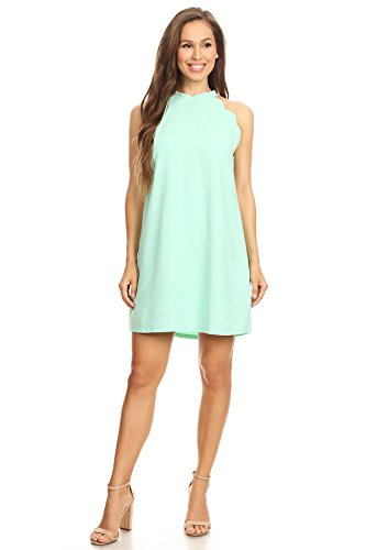 Via Jay Women's Solid Sleeveless Loose Casual Comfy A-Line Short Dress (Mint, -