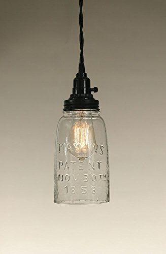 (Colonial Tin Works Half Gallon Open Bottom Mason Jar Pendant Lamp - Clear Glass)