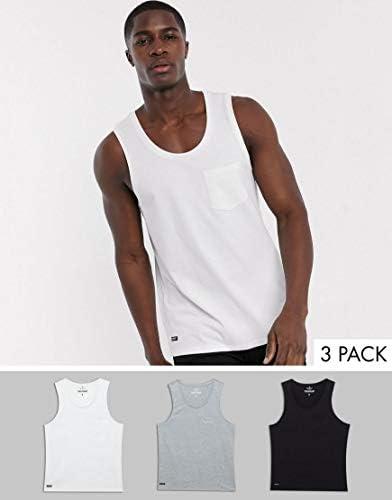 スリードベア タンクトップ ノースリーブ アームホール メンズ Threadbare organic cotton 3 pack basic pocket vestRRP [並行輸入品]