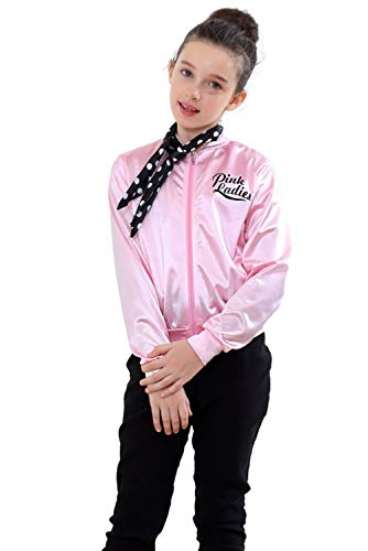 NEWCOS Pink Ladies Jacket for Child 50S T Bird Danny Pink Satin Jacket Halloween Costumes Little Girls' Coat Size 6-14 (10, Style -