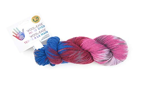 Lion Brand Yarn 623-202 Wool-Ease Hand Dyed Yarn, Berry Cobbler