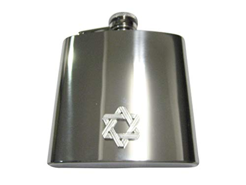 (Kiola Designs Silver Toned Jewish Religious Star of David Outline 6 Oz. Stainless Steel Flask)