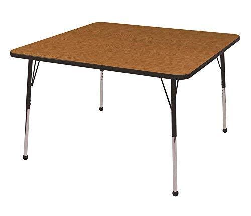 ECR4Kids 48 Square Activity School Table Toddler Legs w/Ball Glides Adjustable Height 15-23 inch (Oak/Black) [並行輸入品] B07N8CP6P1