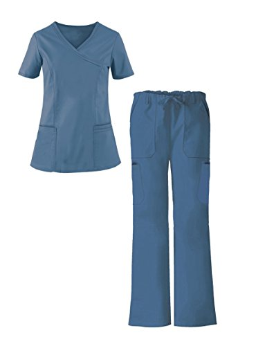 G Med Women's Y-Neck Scrub Top and Pant 2 Piece Fashion Sets(SET-MED,CRB-S)