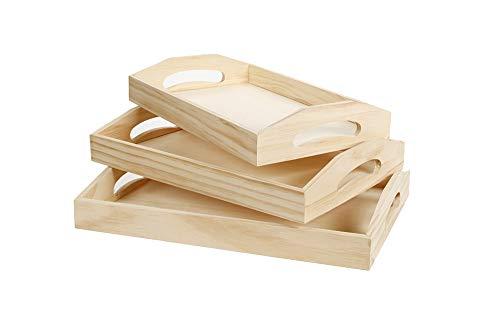 (Darice Wood Tray Unfinished Set 3)