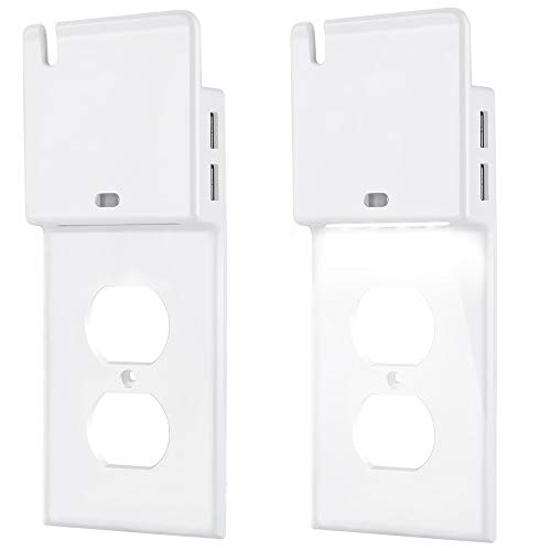 Bedroom Outlet Cover (BESTTEN Outlet Wall Plate with Dual USB 3.1A Charging Ports and Dusk to Dawn LED Sensor Guide Night Light, Outlet Cover with Phone Holder for Duplex Receptacle, White, Pack of 2)