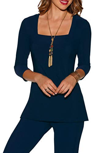 Boston Proper Women's Wrinkle-Resistant Square Neck Solid Color Knit Tunic Top Maritime Navy Small