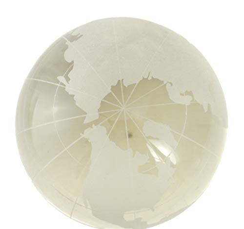 World Map Globe Etched Glass Paperweight