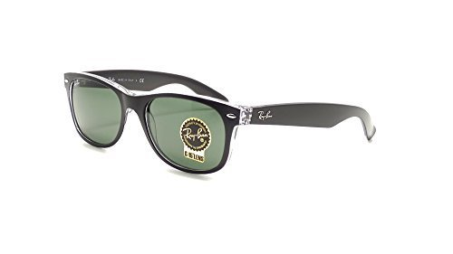 New Ray Ban RB2132 6052 Black+ Clear/Crystal Green 55mm - Wayfarer Rb2132 New