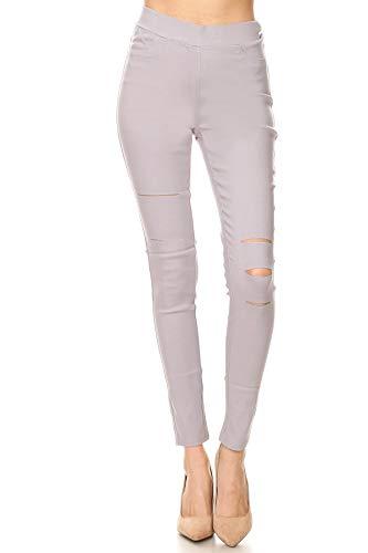 Jvini Women's Pull-On Ripped Distressed Stretch Legging Pants Denim Jean (X-Large, Grey) (Denim Leggings Grey)
