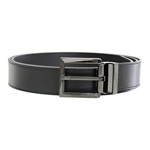 Versace Collection Men's Black Leather Silver Buckle Adjustable Belt ()