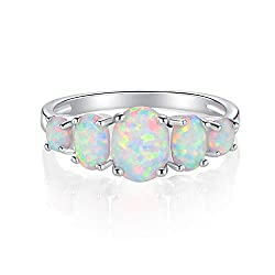 White Gold Plated Opal Crown Band Rings