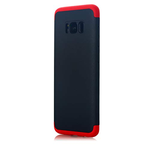Galaxy S8 Case, AICase 3 in 1 Ultra Thin and Slim Hard PC Case Anti-Scratches Premium Slim 360 Degree Full Body Protective Cover for Samsung Galaxy S8 (5.8)(2017) (Red+Black)