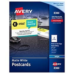 Avery Inkjet Print-to-The-Edge Postcards, 4'' x 6'', White, Box of 100 by AVERY