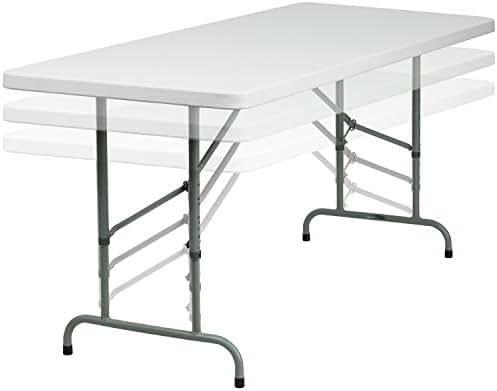 Flash Furniture 30''W x 72''L Height Adjustable Granite White Plastic Folding Table [RB-3072ADJ-GG]