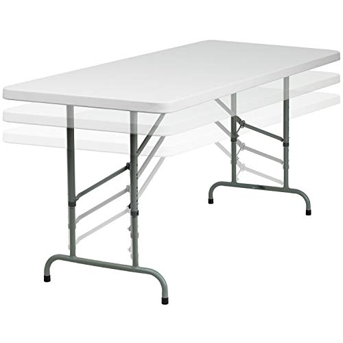 - Flash Furniture 30''W x 72''L Height Adjustable Granite White Plastic Folding Table [RB-3072ADJ-GG]