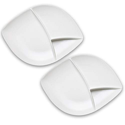 Dinnerware Set of 2 Large Divided Porcelain Burger Plates For Fries & Sauce, Stoneware Grey & White Colors, Alfresco Ceramic Mix & Match Our Entire Range For Stylish Backyard BBQ or Outdoor Parties -