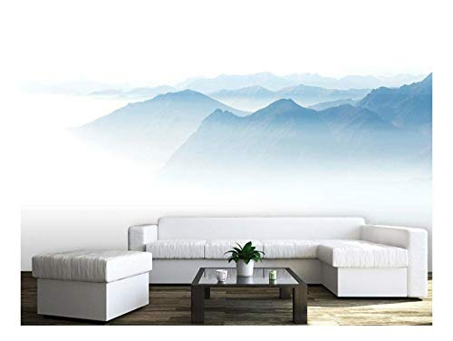 Large Wall Mural Minimalism Style Landscape of Mountains in The Fog Vinyl Wallpaper Removable Wall Decor