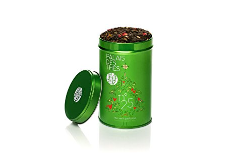 Green Tea Premium Leaf Unsweetened With Fruits & Herbal Perfect For Gifts Holiday Collection Set Of Chinese Loose Gourmet Spiced Mix Orange Cinnamon Vanilla Rose Almond in Metal Decorative Container ()