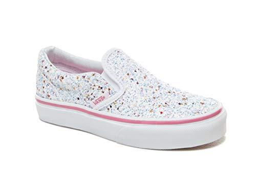 (Vans Girl's Classic Slip-On Skate Shoe (10.5 M US Little Kid, (Glitter Stars) True White/Carmine Rose))